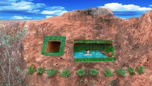 生存小哥脑洞大开,在峭壁上建造了一座游泳池,不仅美观而且隐蔽
