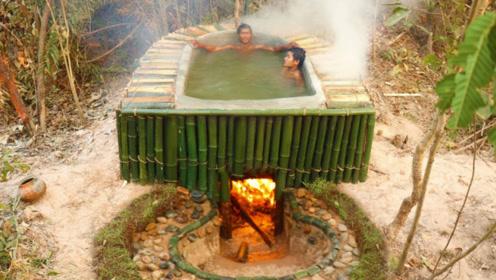 """小伙冬天想泡热水澡,在野外""""挖坑""""自建澡堂,效果比温泉还要好!"""