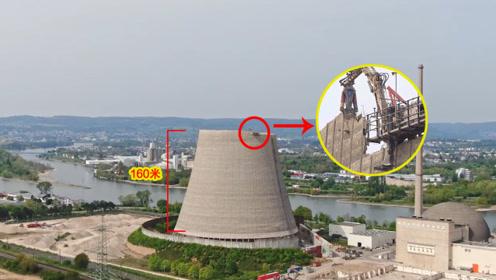 高手在民间,挖机师傅在160米高空,驾驶破拆机进行作业!