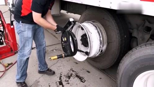 美国人的拆装轮胎神器,分分钟原地拆卸一条轮胎,毫不费力!