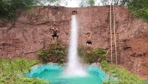 兄弟二人建造瀑布泳池,跳下的瞬间,震撼才刚刚开始!