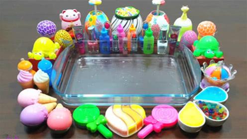 DIY史莱姆教程,冰淇淋泥混合棒棒糖彩泥、爱心泥、小乌龟泥