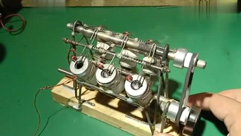 牛人自制的V6电磁发动机模型,这声浪听着太舒服了!