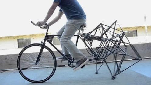 """农村小伙,耗时8个月大明""""蜘蛛腿自行车""""骑行瞬间引无数人围观"""
