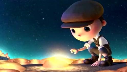 创意动漫趣味动画:小男孩看月球上的一切,一脸的惊喜