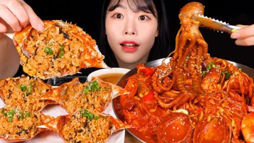 韩国吃播吃海鲜大餐,鲍鱼章鱼大虾,炒饭满满的蟹黄简直太过瘾了!