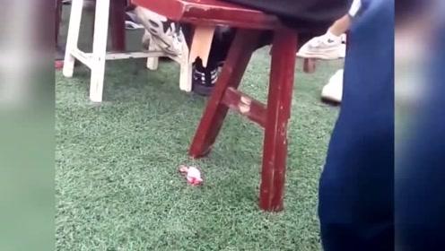 熊孩子拆掉同学的板凳,却意外发现高手,原来板凳只有两根腿也能坐!
