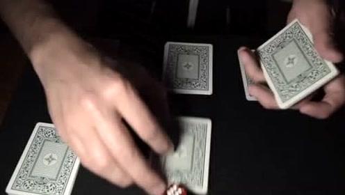 外国魔术大师表演精彩的扑克魔术