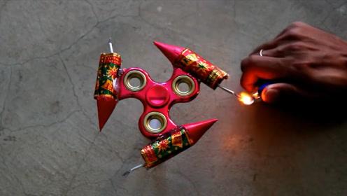 将窜天猴绑在指尖陀螺上,点燃的瞬间堪比特效,网友:视觉盛宴!
