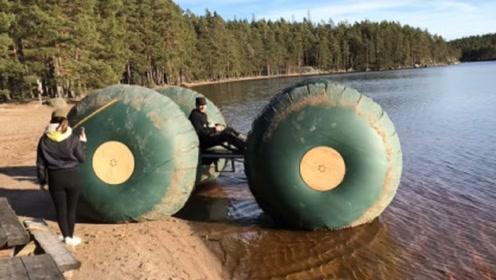 老外打造的简易水上汽车,能产生100公斤拉力,就是防水不太好
