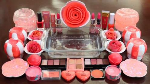 粉色无硼砂史莱姆教程,彩虹黏土+玫瑰花彩泥+爱心彩泥,超治愈效果不错呢