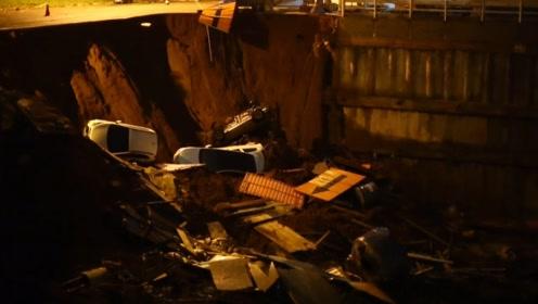 巴西首都发生路面塌陷事故 四辆汽车滑入地洞