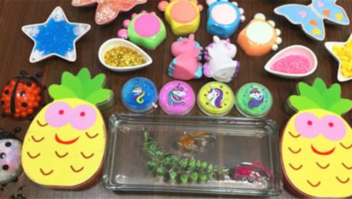 DIY史莱姆教程,菠萝泥混合蝴蝶泥、甲壳虫彩球、水晶泥