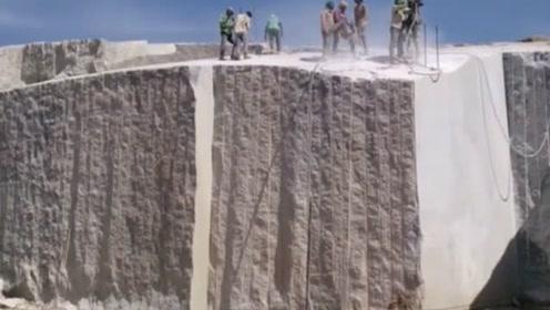 原来花岗岩是这么切割出来的,看完真是长见识了!