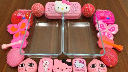 DIY史莱姆教程,粉色系的猫咪泥混合蝴蝶泥、小提琴彩泥、压力球
