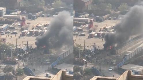 突发!武汉一停放煤焦油槽罐车发生燃爆,两名电焊工人1死1伤