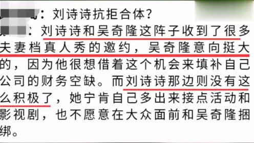 夫妻意见不和?网曝吴奇隆想录夫妻真人秀填财务空缺 刘诗诗拒绝