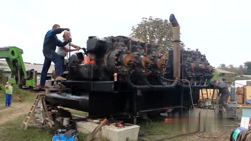 启动一台大型620年代古董货轮发动机,网友:听声音是个暴脾气