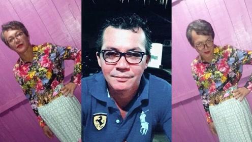 """实拍:巴西一""""壮汉""""男扮女装替母亲考驾照 假发长裙红唇红指甲"""