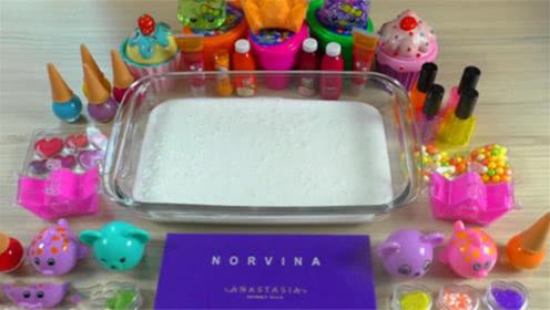 DIY史莱姆教程,口红指甲油+亮彩粉+珍珠豆,好玩好看
