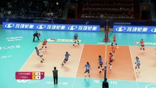 女排超级联赛第九轮,江苏女排VS广东恒大,决胜局回放