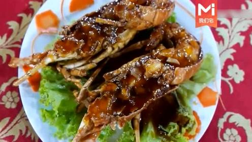越南街头大龙虾直接炸着吃,看的哈喇子都出来了