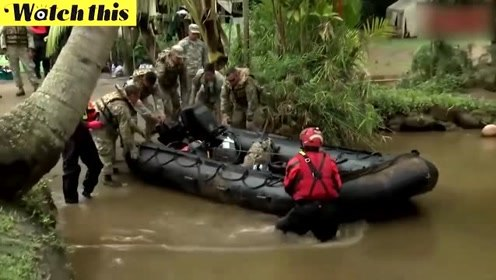 实拍夏威夷强降雨引发洪水泥石流 数百人被疏散