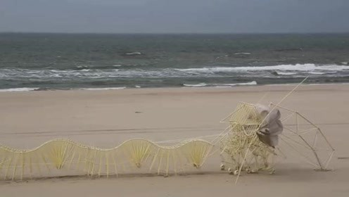 在荷兰沙滩上靠风行走的巨兽 似外星怪兽来袭
