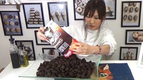木下大胃王:登陆日本的谷物片4.5公斤!,牛奶,巧克力豆等