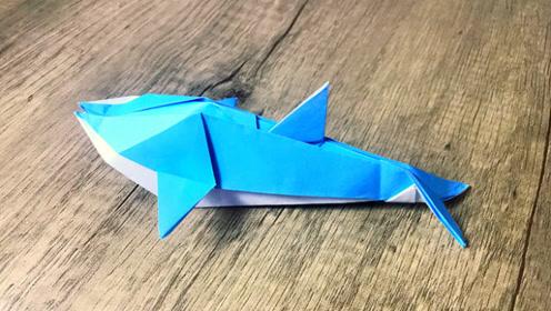 纸在乎你 动物系列折纸 一只可爱的小海豚