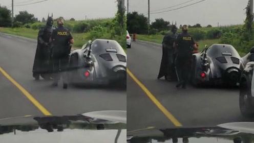 男子身穿蝙蝠侠战衣开着蝙蝠战车被交警叫停_01