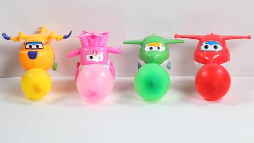 超级飞侠吹气球比赛,幼儿认识颜色玩具趣味视频