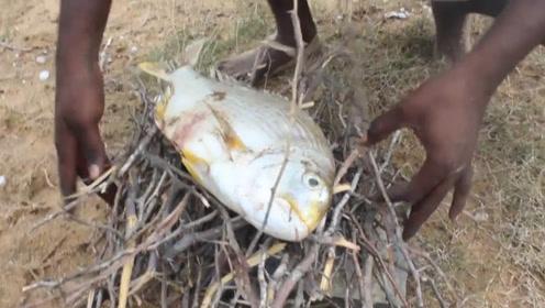 河里抓来的一条鱼,赶紧拿去烤,好吃到三哥自己都笑了