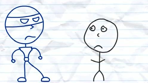 搞笑铅笔动画-可怜的铅笔人被一脚踹在墙上,蓝色霸道小人太狂了