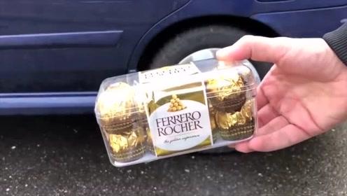 趣味视频:汽车从一盒巧克力和鸡蛋上压过饼结果尴尬了