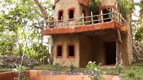 牛人亲手制作的丛林小别墅,制作完成后,网友:这真的能住人