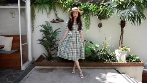 5套夏季时尚穿搭分享,网友:第五套绿色条纹连衣裙好看!
