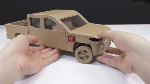 创意手工diy,硬纸板手工制作吉普牧马人越野车模型图片