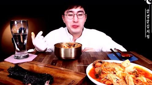 韩国小哥吃五花肉泡菜汤,明太鱼拌饭和泡菜紫菜包饭!