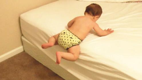老爸偶然拍到1岁娃高智商下床,网友:这智商长大不得了
