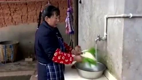 农村王四:幺叔不在家,幺妈又是喂猪又是砍柴,干活太勤快了!