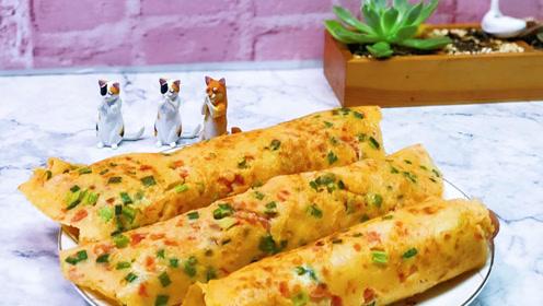 番茄鸡蛋饼里卷一根火腿肠,一口一口超满足,这份早餐超级赞!