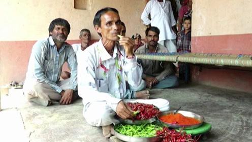 印度一男子每天吃6斤辣椒,比一天的饭量还多,网友:这是什么胃