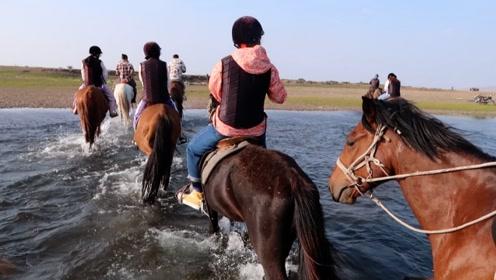 来到呼伦贝尔大草原一定要做的事情,骑着高头大马穿越草原和河流