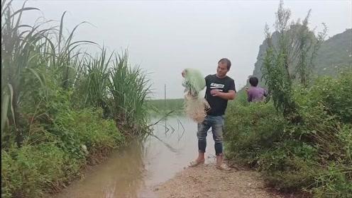 洪水把路面都淹没了,山洞跑出来好多鱼,小伙赶紧下网,收获满满