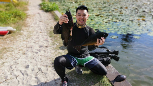 光哥巴厘岛潜水捕获一堆鱼,一家三口在海边享用丰盛的晚餐