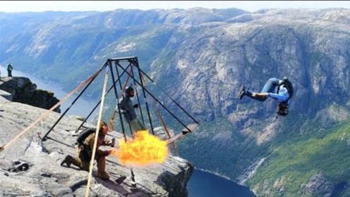 国外牛人挑战高空翼装飞行,这也太猛了,网友:难怪国外人那么少