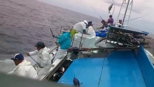 实拍海上捕鱼,简直太震撼了,一秒钟钓一条!