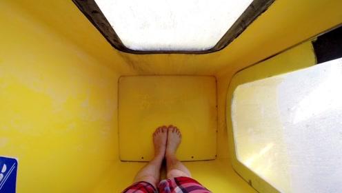 透明循环的水滑梯,从20米的高空突然下坠,过程过于惊险刺激