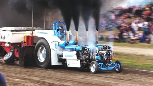 世界最快拖拉机,上千马力时速130千米,比赛中赶超奔驰